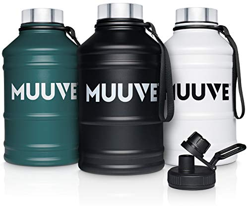MUUVE® Botella de acero inoxidable de 1,3 l, 2 tapas, cepillo, antigoteo, sin BPA, apta para ácido carbónico, para fitness, deportes, gimnasio (blanco 2,2 L, 2,2 litros)