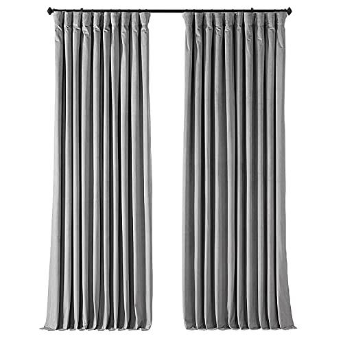 HPD Half Price Drapes VPCH-VET1213-108 Signature Extra Wide Velvet Blackout Curtain (1 Panel), 100 X 108, Silver Grey