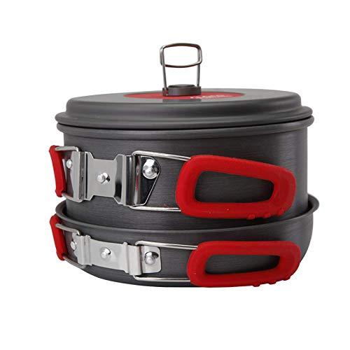 Juego de utensilios de cocina para acampar al aire libre portátil 2-3 personas utensilios de cocina portátil picnic sartén olla tazón utensilios de cocina set para