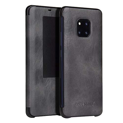 Protege tu teléfono, Fierre Shann Caballo Loco Textura Horizontal del tirón de la Caja de Cuero for Huawei Mate 20 Pro, con Smart Ventana de la Vista y del sueño de Despertador Función