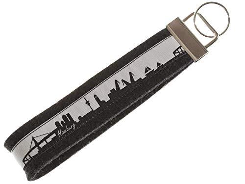 Hamburg Schlüsselband aus Filz | Skyline Hamburg in schwarz-Weiss | Geschenk für Damen und Herren | Filz 100% Wolle (Merinowolle)