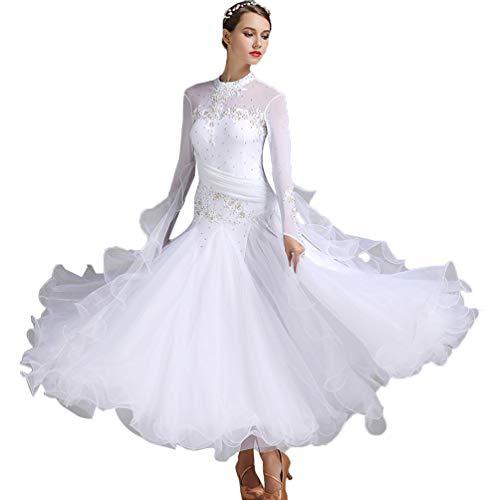 Nationaler Standard Ballsaal Tanzkleider Für Damen Wettbewerb Tanzbekleidung Stickerei/Strass Lange Ärmel Walzer Tango Tanzkostüm,Weiß,L