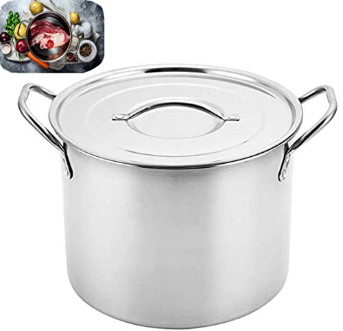 Professional Stock Pot 3 Gallon / 12QT Stainless Steel, Great For Steaming Canning Cooking Soups, Seafood, Beans, & Tamales