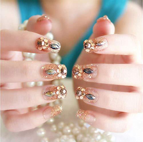 Faux Ongles SRTYH 24Pcs / Set Poudre Brillante Mode Faux Ongles Mariée Mariage Brillant Strass Nail Art Stlye Faux Ongles