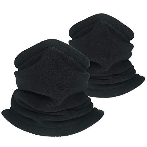 OKIDSO Hombres Mujeres Bufanda de Bucle de Invierno Calentador de Cuello Cálido Unisex con Bufanda de Tubo con Cordón (2 Negro)