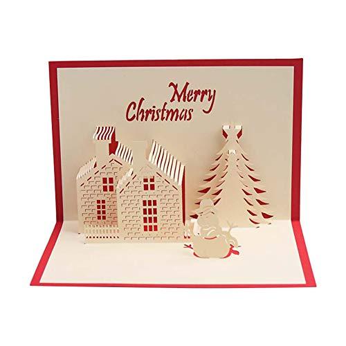 Topdo Tarjeta de Felicitación 3D Papel con Tarjeta de Navidad 3D Pop up con Papel Sobres Bendicion Greeting Cards para Navidad Fiesta Regalo Año 1 Pieza Castillo de Invierno 15 * 15cm