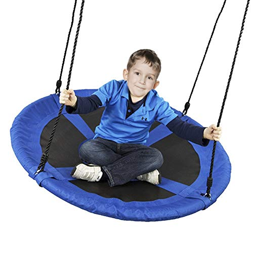 Balançoires YXX Nid D'oiseau Jardin Bleu d'arbre à Soucoupe pour Adultes - Enfants Chaise de hamac Ronde intérieure/extérieure - Idéal pour Les Arbres, Les, Les Jard