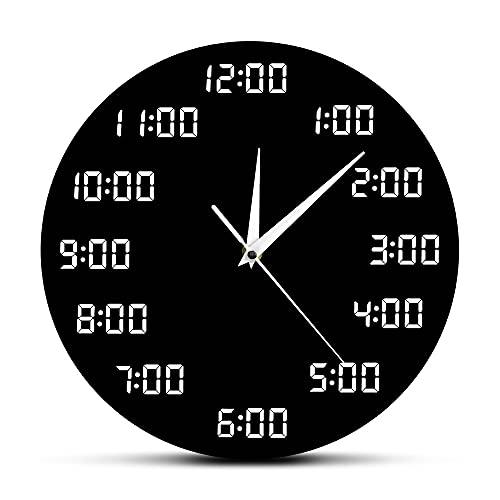 CVG Arte de la Pared de la Cocina Reloj de Pared Digital analógico Reloj de Pared Redondo con diseño humorístico en Pantalla Digital Decoración para el hogar en Interiores Reloj Simple Reloj de Pared