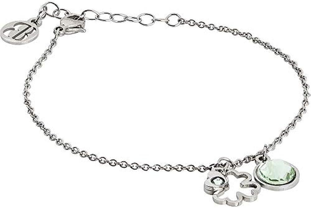 Boccadamo, bracciale per donna,in acciaio rodiato con charm a forma di quadrifoglio Pi/Br30