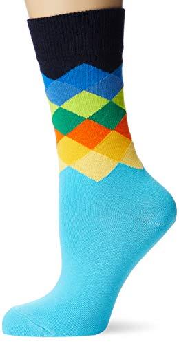 Happy Socks Faded Diamond Sock Chaussettes, Multicolore (Multicolore 670), 4/7 (Taille Fabricant: 36-40) Femme