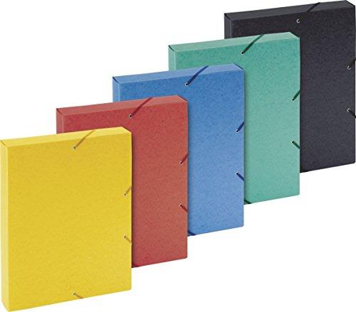 Brunnen 1041643 Heftbox (für A4, aus Karton, mit Gummizug, sortiert in 5 Farben)