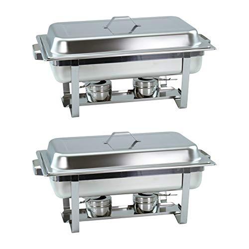 Lot de 2 plats à chafing Dish avec récipient 1/1 GN de 65 mm de profondeur - Chauffe-plats empilables avec poignées carrées
