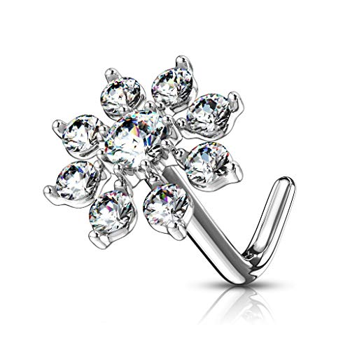 Forbidden Body Jewelry Nose Rings Big Bling CZ Snowflake L-Shaped Nose Stud Surgical Steel (20g,7mm) Silver Tone