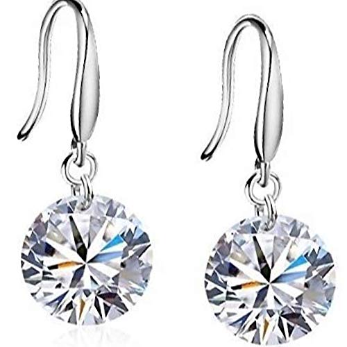 STLG Sterling Silver Dangle Drop Earings Inlay With Cubic Zirconia Studs For Women