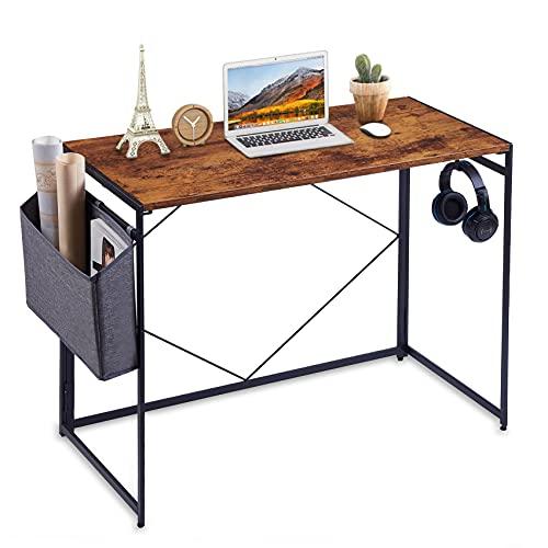 Apuwe Desk, Folding Computer Desk with Storage Bag, Folding Desk Gaming Office Desk with Headphone Hook, 39.3