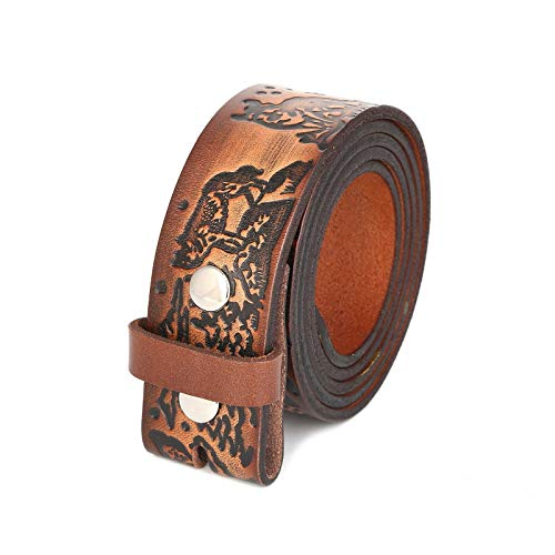 Unisex Full Grain Genuine Leather Hand Painted Wolf Belt Strap Without Buckle (38-40 (L))
