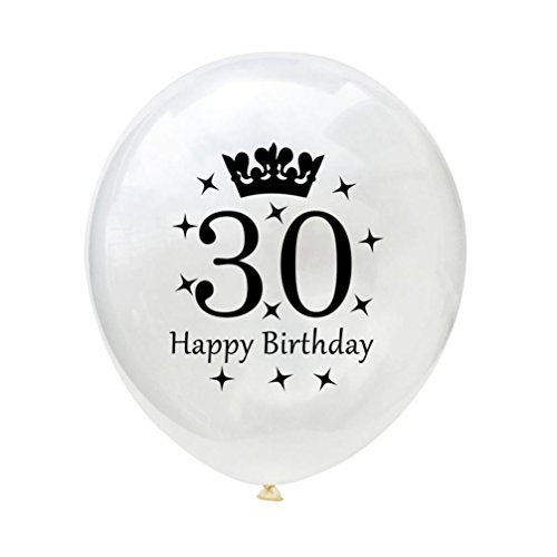 10PCS/set White Balloons 12'' Latex Balloons 18th 21th 30th 40th 50th 60th Wedding Anniversary Party Baby Shower Birthday Decoration Gessppo (30TH)