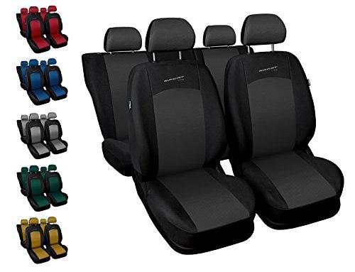Carpendo Sitzbezüge Auto Set Autositzbezüge Schonbezüge Schwarz-Grau Vordersitze und Rücksitze mit Airbag System - Sport Line