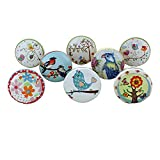 G Decor Garden Birds Floral Assorted Designs Ceramic Door Knobs, Vintage, Shabby Chic, Interior Furniture, Cabinet Cupboard Drawers Pulls Handles (8-Pack)