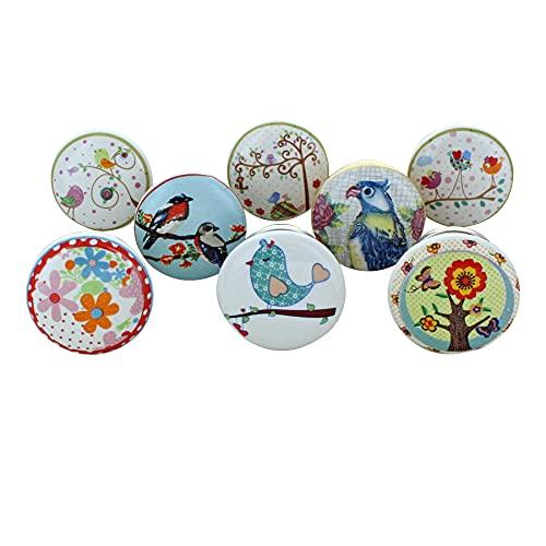 G Decor - Pomos de cerámica para puertas, muebles y cajones, estilo vintage shabby chic, diseños de pájaros (juego de 8)