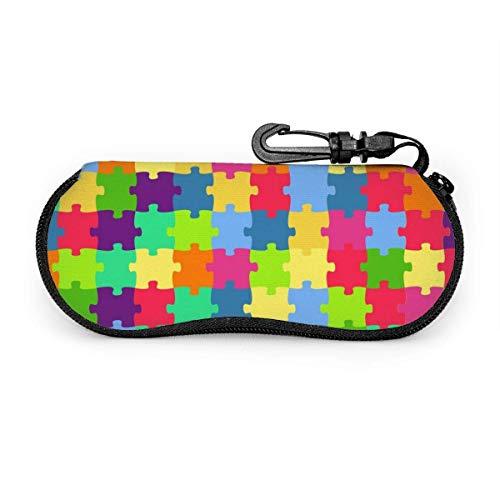 Bran don Puzzles coloridos Gafas de sol Estuche blando Estuche de anteojos con cremallera de neopreno ultraligero con clip para cinturón