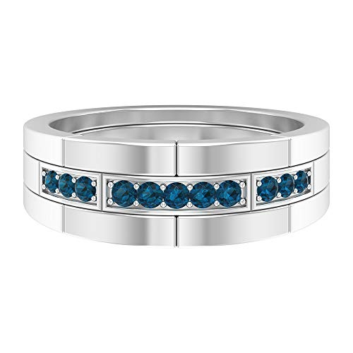 Fede nuziale unica, anello a fascia larga, anello di fidanzamento da uomo, 1/4 ct topazio blu Londra, anello da sposi, anello per il suo anniversario, 14K Oro bianco, Size:EU 70