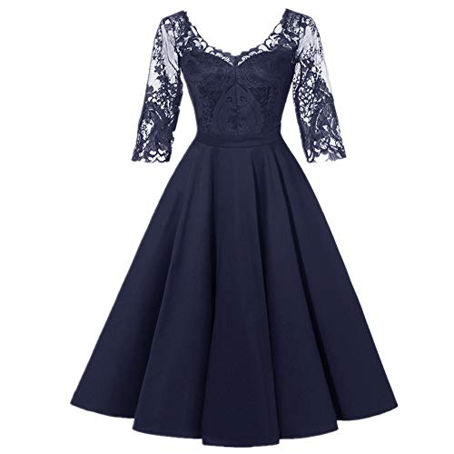 Spitze Naht Mittelarm Kleid Abendkleid Frühling Neu Damen Kleidung Gr. 48, 2