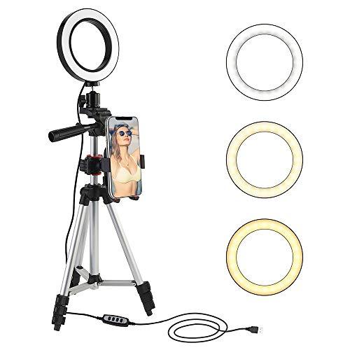"""5.7 """"Ring Light avec trépied et support de téléphone portable pour diffusion en direct / Maquillage / Prise de vue vidéo Youtube , Mini-éclairage de caméra à DEL à intensité variable avec 3 modes"""
