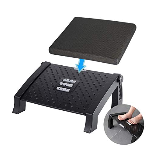 Adjustable Height Foot Rest Under Desk at Work - 6 Height Sturdy Office Footrest - Added Memory Foam - Non Slip Bottom - Straighten Back & Hip & Leg Pain Relief
