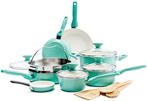 GreenPan Rio Healthy Ceramic Nonstick Cookware Pots and Pans Set 16 Piece Turquoise product image