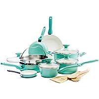 GreenPan Rio Healthy Ceramic Nonstick 16 Piece Cookware Set (Turquoise)