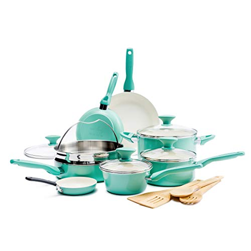 GreenPan Rio Healthy Ceramic Nonstick, Cookware Pots and Pans Set, 16-Piece, Turquoise Indiana