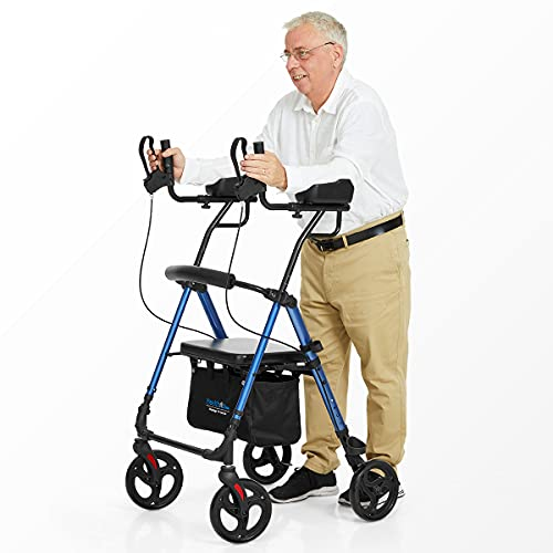 Health Line Massage Products Up Rollator Walker, Up Rollator with Armrest,Tall Folding Walker with Wheels,Up Rollator with Armrest and Seat Rolling Walker for Seniors and Adults, Blue