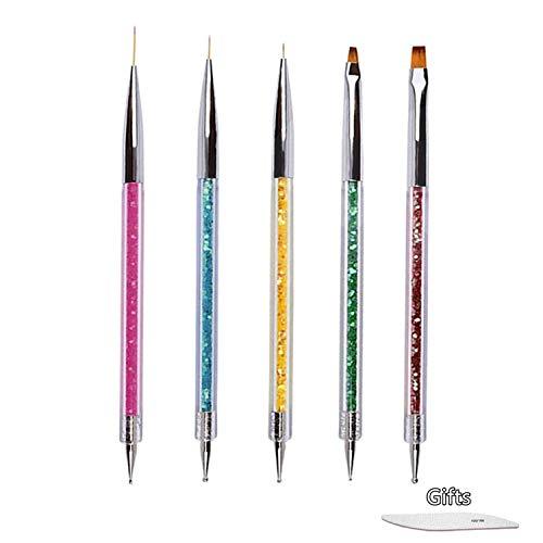 5 Pcs Nageldesign Pinsel Nail art Pinsel Set Nail Art Liner Pinsel Nail Art Dotting Punktierung Zeichnung Pinsel Stift Acryl UV Gel 3D Funkeln Liner Nagellack Stift Set für DIY Nail Art Design