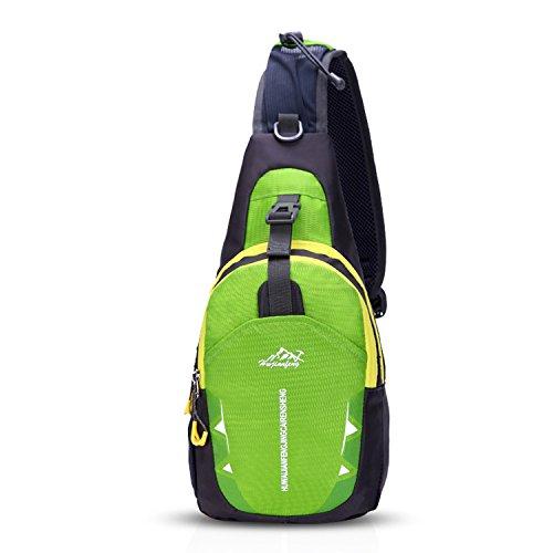 FANDARE Unisex Sac de Poitrine Ultra-léger Sling Bag Sacoche Bandouliere Sling Bag Garçon Fille Sac d'Epaule Sacoche de Ceinture Crossbody Bag pour Voyage Randonnée Cyclisme Jogging Durable Vert