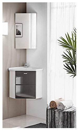 naka24 FINKA 40 cm Badmöbel Set mit Eckwaschbecken Eckschrank Hochglanz (grau, Waschbecken Waschbeckenunterschrank Spiegel)