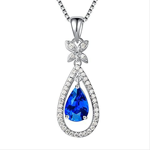 Zafiro Natural S925 Collar de Plata esterlina Colgante Fino Topacio Azul Gota de Agua Joyas de Piedras Preciosas