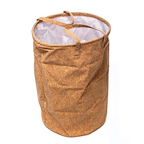 helavo Aufbewahrungskorb 50L Wäschekorb mit Deckel aus Kork - Verschließbarer Wäschesammler - Wäsche Korb - Aufbewahrungskorb mit Deckel für pfandflaschen Aufbewahrung- Wäschesack - Wäschekorb Holz