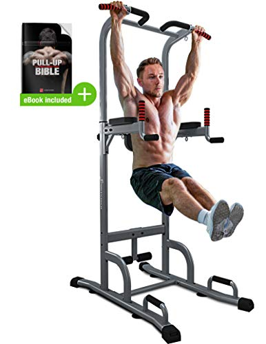 Sportstech 7in1 Power Tower PT300 - Dip Station & Strength Tower - Multifunctional Power Station for at Home incl. Pull Up Bar, Push Up Grips - 4 Loops for TRX, Ropes & Slings, Sit Ups