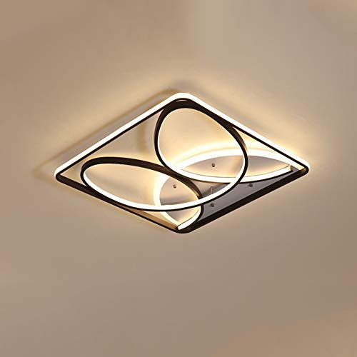 52 W LED-plafondlamp, afstandsbediening, dimbaar, modern, creatief, vierkant, plafondlamp, binnenverlichting, plafond, slaapkamer, woonkamer, keuken, licht L40 × B40 × H12 cm, zwart