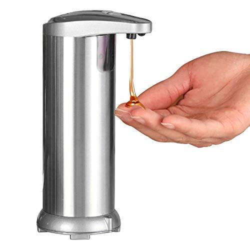 GENNISSY Dispenser di sapone automatico senza tocco, con base impermeabile in acciaio inox, dispenser regolabile per cucina, bagno, hotel, ufficio Argento