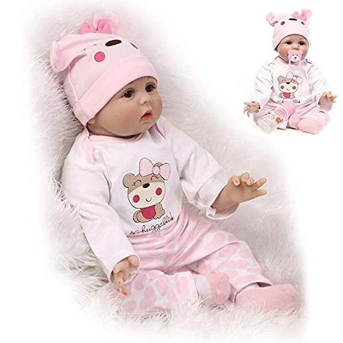 ZIYIUI Muñecos Reborn Niña 22 Pulgadas 55Cm Realista Bebe Reborn Silicona Cuerpo Completo Suave Vinilo de Recién Nacido Niño Niña Regalo Juguete Reborn Dolls