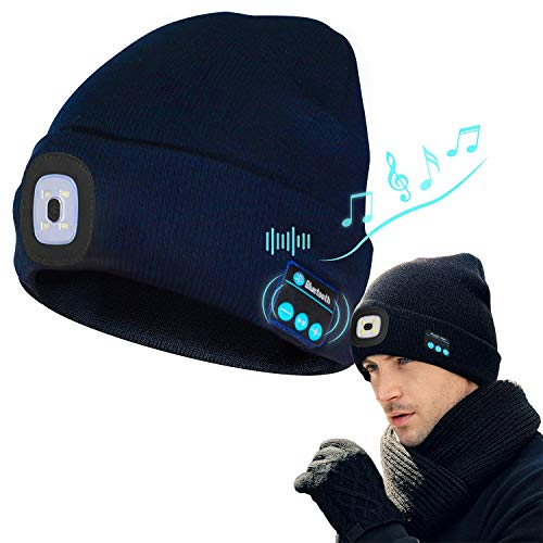 Bluetooth Beanie Hat with Light, Upgraded Music Hat USB Rechargeable Bluetooth Hat Headlamp Headphone and Built-in Stereo Speakers & Mic, LED Beanie Running Hiking Gifts for Men Women Teens(Navy Blue)