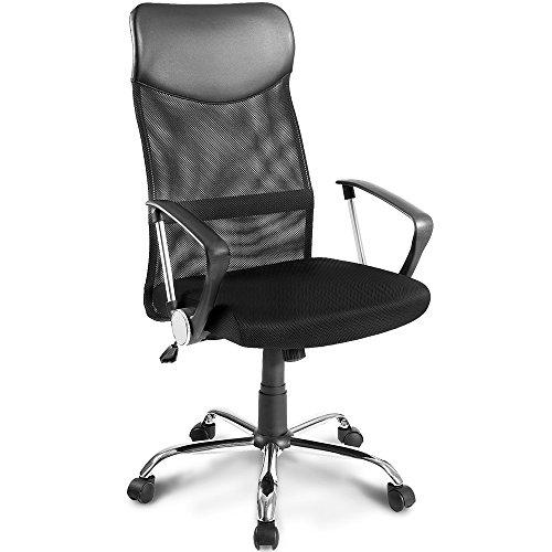 Merax Bürostuhl Drehstuhl Schreibtischstühle Ergonomischer Design Chefsessel mit Kopfstütze, Netzrückenlehne/Wippfunktion (Schwarz C)