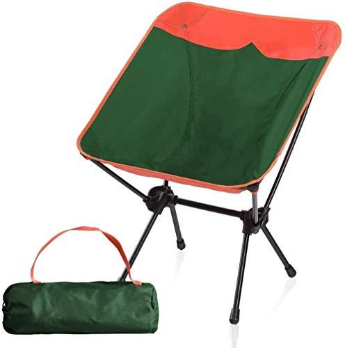 Woodtree Sillas compacta Ultraligero Plegable Que acampa portátiles con Marco de alnum, Camping, Senderismo, Color: Naranja/Verde (Color : Orange/Green)