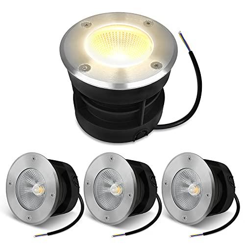 Aufun Lot de 4 spots LED encastrables au sol - 10 W - Pour le jardin - Sans piquet - IP65 - AC85-265 V - Éclairage de chemin - Pour l'extérieur - 3000 K - Blanc chaud