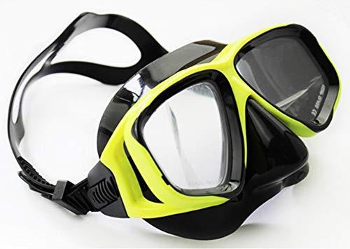 WOWDECOR Schnorchelmaske Taucherbrille Dioptrin Dioptrien Korrektur, Tauchmaske für Erwachsene und Kinder mit Kurzsichtigkeit Kurzsichtig (Gelb schwarz, -5,0)