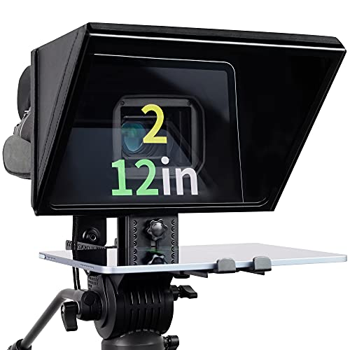 """ILOKNZI Liftable Teleprompter, Metal Teleprompters for 12.9"""" Tablets with Adjustable Tempered Optical Glass, Supports Wide Angle Camcorder/Camera Lens, Studio Make Videos and Live"""