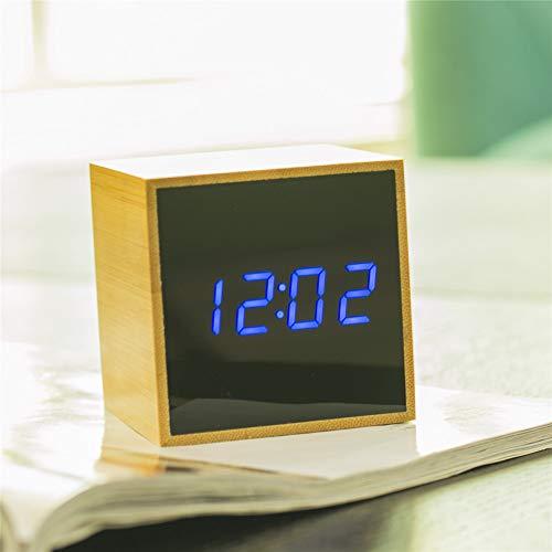 GYCZC Bambus Holz Spiegel Led Wecker Elektronische Nachtuhr Temperatur Luftfeuchtigkeit Datum Student Wecker 1293 Blaues Licht