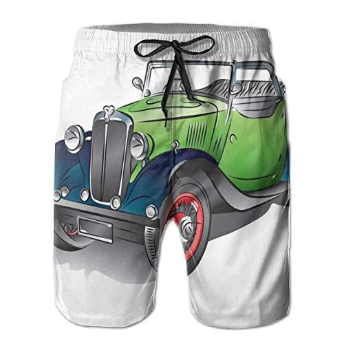 WANGKG Men's Big and Tall Swim Trunks Beachwear Drawstring Summer Holiday,Hand Drawn Convertible Vintage Green Car with Colorful Rims Retro Vehicle Design Print,XL,3D Print Shorts Pants